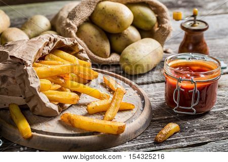 Closeup Of Homemade Fries With Ketchup And Salt