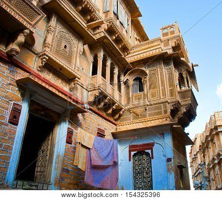 The beautiful Patwon ki Haveli palace made of golden limestone, Jaisalmer India.