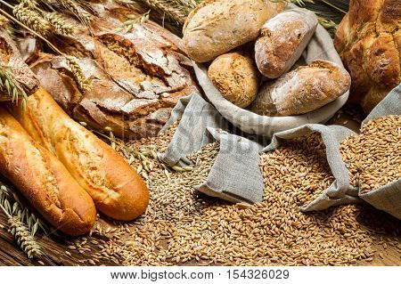 Various Types Of Bread In A Baker Pantry