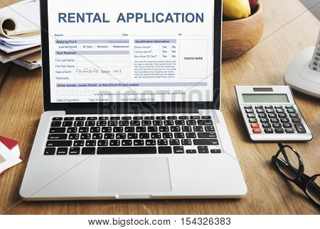 Rental Application Form Financial Concept