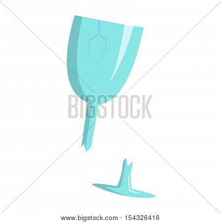 Broken crystal wine glass dishware fragility destruction isolated on white. Alcohol drink transparent sharp beverage broken wine glass. Concept splash crush object spill harm injury broken wine glass.