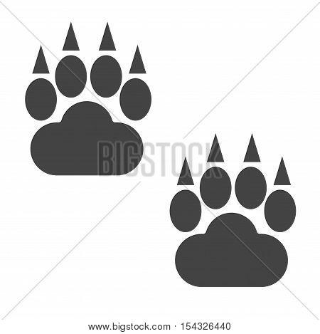 Animal dwild bear og foots and wildlife steps, pet traces. Animal bear foots silhouette steps