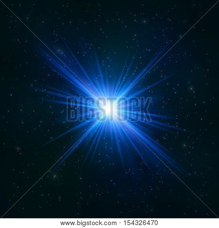 Glowing Realistic Blue star - Stylized Object. Cosmic Concept.