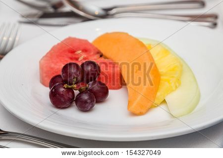 Grapes on a Fruit Plate with melon