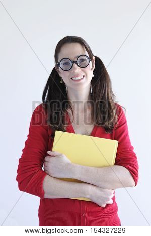 Geeky Woman Holds A Book