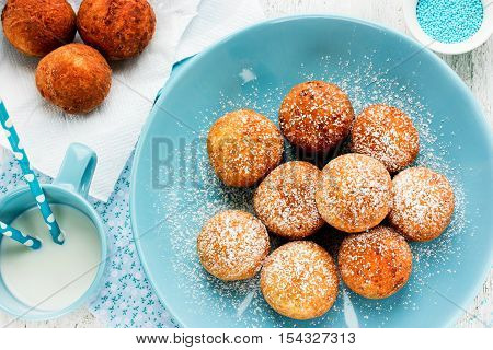 Sweet cheese donuts deep fried Christmas treat for kids