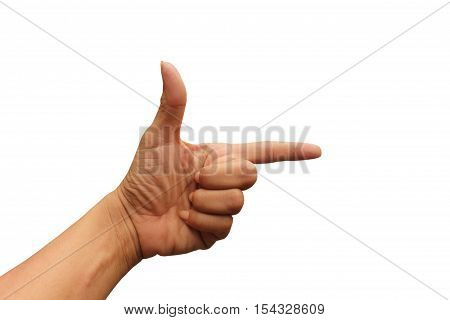 hand point right sign on white backgroun.