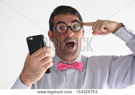 Geeky Man Holds A Smartphone Has An Idea