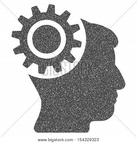 Brain Gear grainy textured icon for overlay watermark stamps. Flat symbol with dirty texture. Dotted vector gray ink rubber seal stamp with grunge design on a white background.