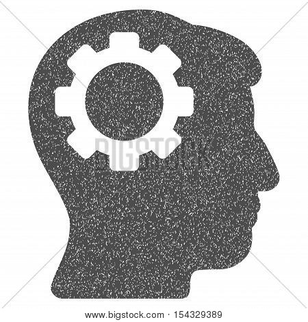 Brain Gear grainy textured icon for overlay watermark stamps. Flat symbol with dust texture. Dotted vector gray ink rubber seal stamp with grunge design on a white background.