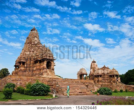 Devi Jagdambi Temple, dedicated to Parvati, Western Temples of Khajuraho, India. Unesco World Heritage Site. Popular amongst tourists all over the world.