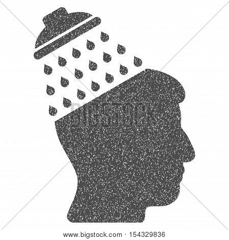 Brain Shower grainy textured icon for overlay watermark stamps. Flat symbol with dirty texture. Dotted vector gray ink rubber seal stamp with grunge design on a white background.