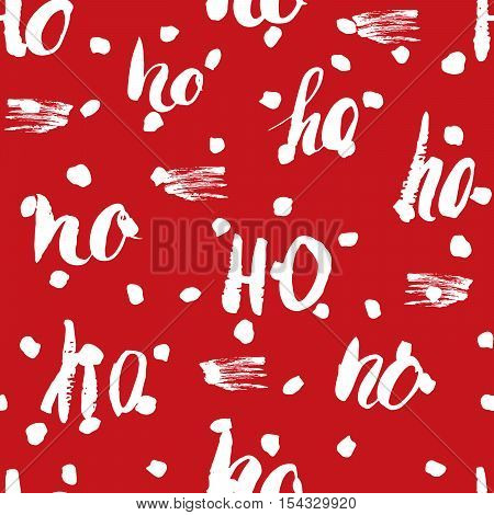 New Year And Cristmas Seamless Pattern, With Ho Ho Ho Hand Drawn Letters, Retro, Vintage Seamless Pa