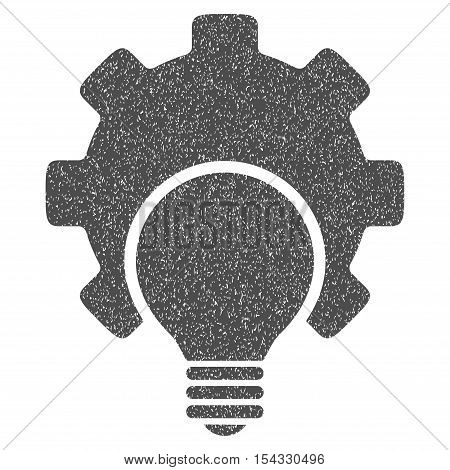 Bulb Configuration Gear grainy textured icon for overlay watermark stamps. Flat symbol with unclean texture. Dotted vector gray ink rubber seal stamp with grunge design on a white background.