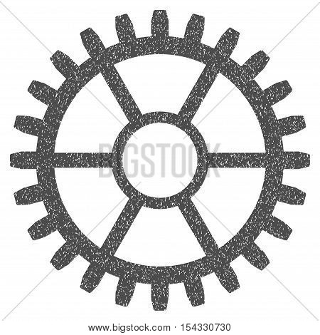 Clock Wheel grainy textured icon for overlay watermark stamps. Flat symbol with unclean texture. Dotted vector gray ink rubber seal stamp with grunge design on a white background.