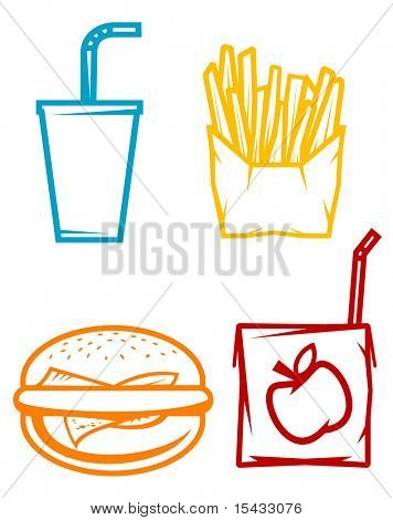 Set of fast food symbols. Vector version also available