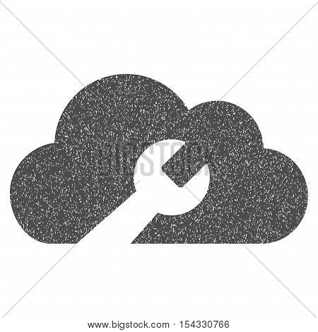 Cloud Wrench Tools grainy textured icon for overlay watermark stamps. Flat symbol with dust texture. Dotted vector gray ink rubber seal stamp with grunge design on a white background.