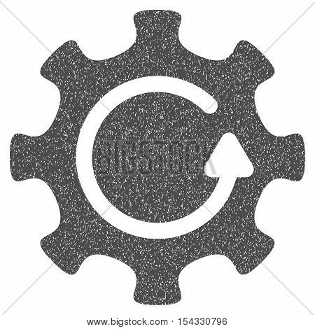 Cog Rotation Direction grainy textured icon for overlay watermark stamps. Flat symbol with unclean texture. Dotted vector gray ink rubber seal stamp with grunge design on a white background.