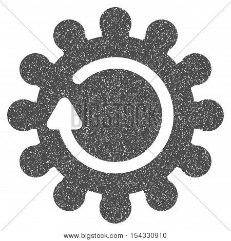 Cog Rotation grainy textured icon for overlay watermark stamps. Flat symbol with scratched texture. Dotted vector gray ink rubber seal stamp with grunge design on a white background.