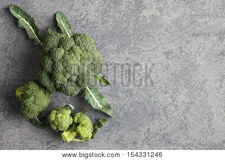 Fresh broccoli with leaves on gray stone background