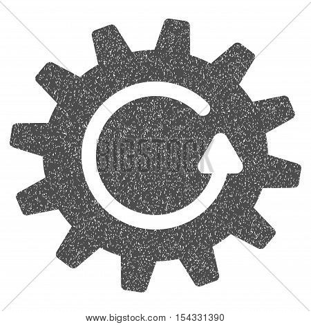 Cogwheel Rotation grainy textured icon for overlay watermark stamps. Flat symbol with unclean texture. Dotted vector gray ink rubber seal stamp with grunge design on a white background.