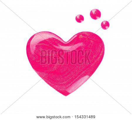 Blots or drips of nail polish in the form of heart on white background