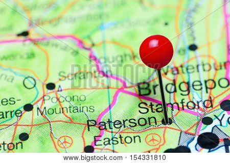 Paterson pinned on a map of New Jersey, USA