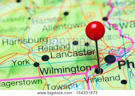 Wilmington pinned on a map of Delaware, USA