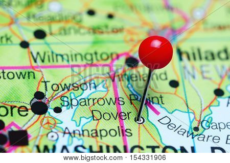 Dover pinned on a map of Delaware, USA