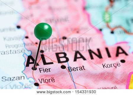 Fier pinned on a map of Albania