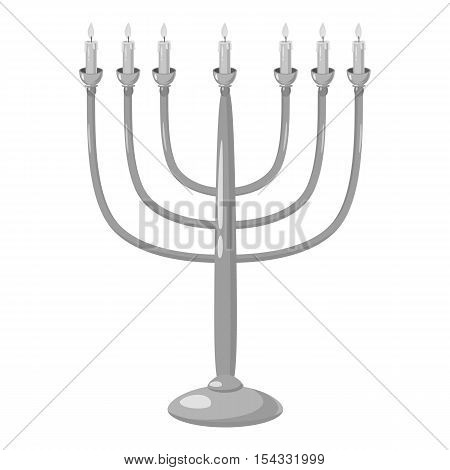 Menorah icon. Gray monochrome illustration of menorah vector icon for web