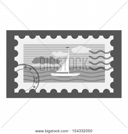 Postage stamp icon. Gray monochrome illustration of postage stamp vector icon for web