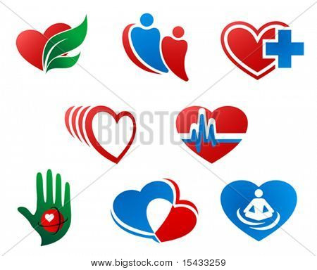 Set of heart symbols and signs for design. Jpeg version also available