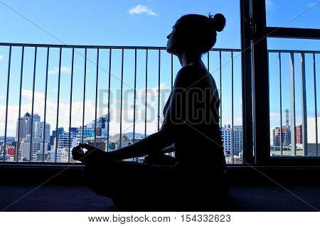 Woman Silhouette Meditate