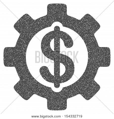 Development Cost grainy textured icon for overlay watermark stamps. Flat symbol with dirty texture. Dotted vector gray ink rubber seal stamp with grunge design on a white background.
