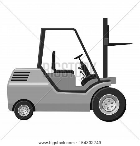 Forklift icon. Gray monochrome illustration of forklift vector icon for web
