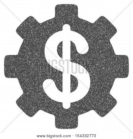 Development Cost grainy textured icon for overlay watermark stamps. Flat symbol with dust texture. Dotted vector gray ink rubber seal stamp with grunge design on a white background.