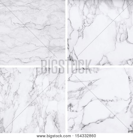 Collection of white marble texture and background for design pattern artwork.