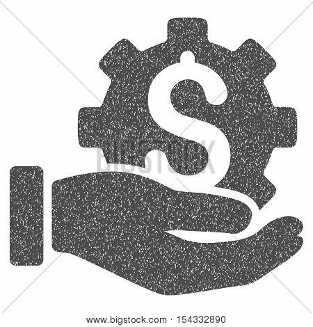 Development Service grainy textured icon for overlay watermark stamps. Flat symbol with unclean texture. Dotted vector gray ink rubber seal stamp with grunge design on a white background.