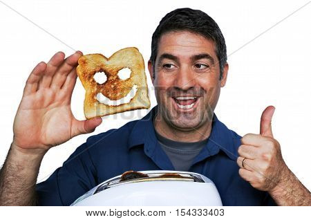 Man Smile And Holds A Good Slice Of Toast
