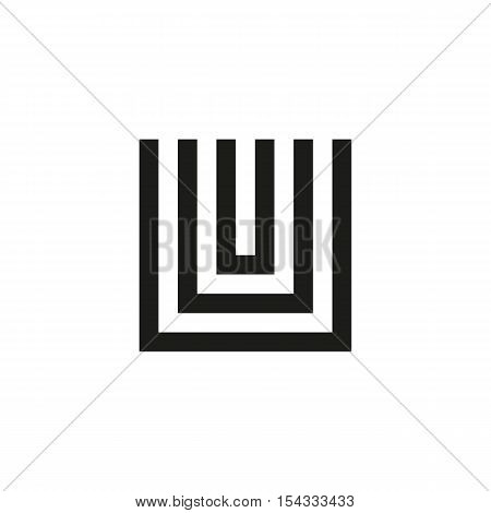 Unusual geometric letter U. Architecture vector logo. Isolated monogram