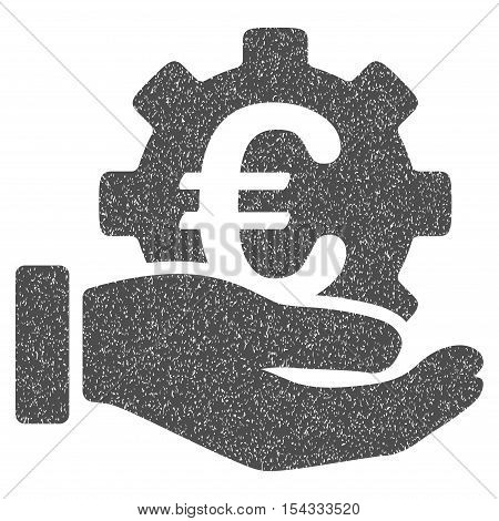 Euro Development Service Hand grainy textured icon for overlay watermark stamps. Flat symbol with dust texture. Dotted vector gray ink rubber seal stamp with grunge design on a white background.
