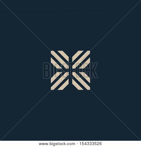 Unusual geometric letter X. Architecture vector logo. Isolated monogram