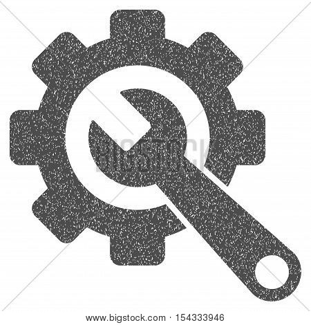 Gear and Wrench grainy textured icon for overlay watermark stamps. Flat symbol with scratched texture. Dotted vector gray ink rubber seal stamp with grunge design on a white background.