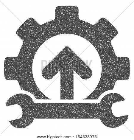 Gear Integration Tools grainy textured icon for overlay watermark stamps. Flat symbol with unclean texture. Dotted vector gray ink rubber seal stamp with grunge design on a white background.