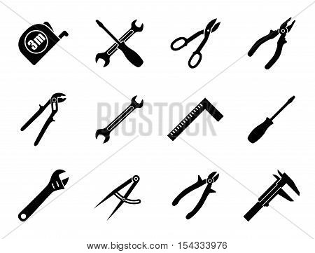 Set of twelve industrial hand tools for construction engineering mechanics in black and white colors. Flat style vector illustration
