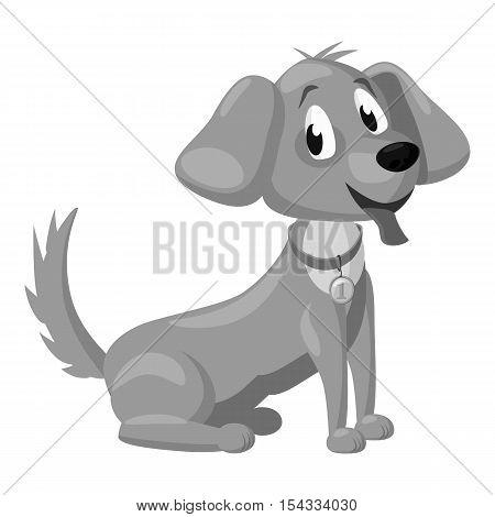 Puppy icon. Gray monochrome illustration of puppy vector icon for web