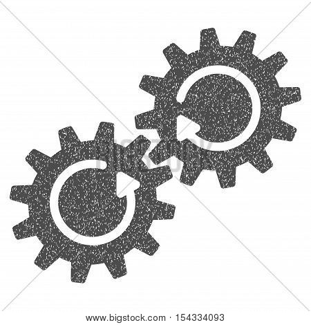Gear Mechanism Rotation grainy textured icon for overlay watermark stamps. Flat symbol with unclean texture. Dotted vector gray ink rubber seal stamp with grunge design on a white background.