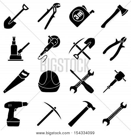 Set of sixteen black and white hand tools on a white background. Vector illustration in flat style