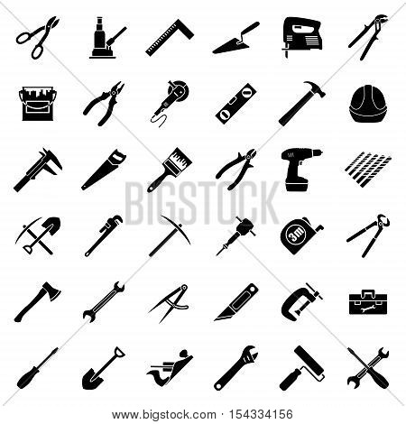 Set of thirty six flat style black and white tools used in construction building engeeniring manufacturing. Vector illustration.